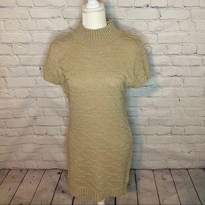 MORAL FIBER Tan mock neck sweater dress